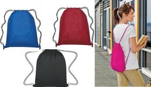 Polyester Waterproof Drawstring Bag - Black