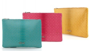 Oxel Double Face Leather Croco Pattern Zip Evening Square Clutch - Aqua