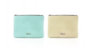 Oxel Double Face Leather Soft Pattern Zip Evening Square Clutch - Aqua