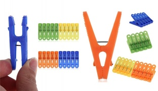 Set Of Plastic Colorful Laundry Clothespins 44 Pcs - Blue/Green/Red/Purple