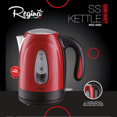 Regina Red & Black Electric Stainless Steel Kettle 1.7 L 2200 W