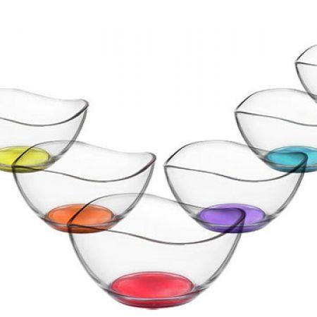 LAV Set Of Vira Colored Base Glass Bowl 310 ml 6 Pcs