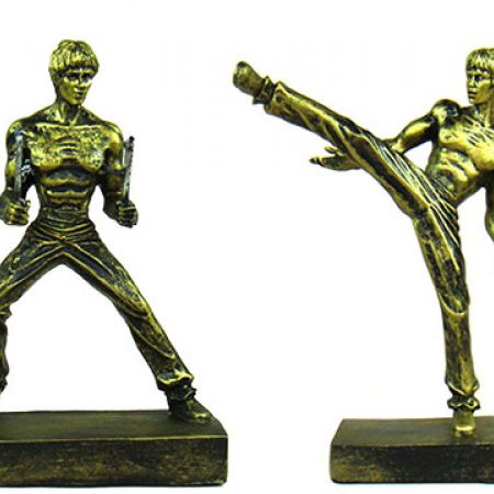 Set Of Miniature Bruce Lee Resin Figurine Kick & Nunchaku 2 Pcs