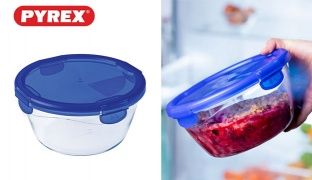 Pyrex Cook & Go Borosilicate Glass Round Food Storage With Lock Lid - 0.7 L