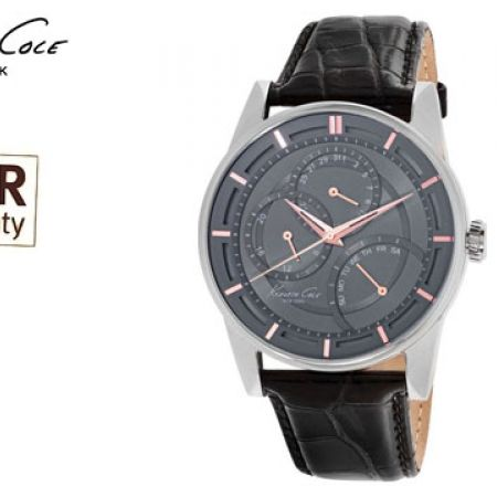 Kenneth Cole Grey Dial Color Leather Band Round Watch For Men
