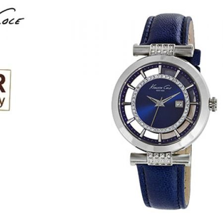 Kenneth Cole Blue Designer Leather Band With Swarovski Elements For Women