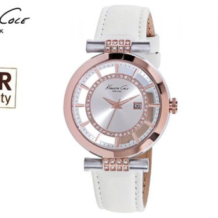 Kenneth Cole Rose Gold Designer Leather Band With Swarovski Elements For Women