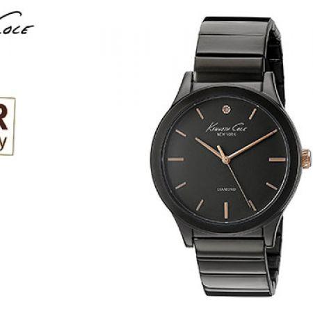 Kenneth Cole Genuine Diamond Analog Display Black Round Watch For Women