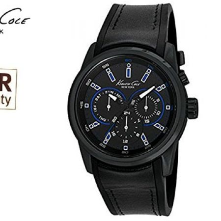 Kenneth Cole Stainless Steel Case Black Leather Strap Round Watch For Men