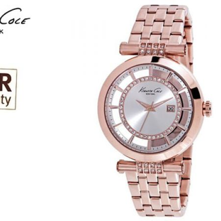 Kenneth Cole Stainless Steel Case Rose Gold Round Watch For Women