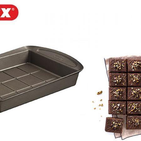 Pyrex Brown Metal Asimetria Easy Grip Brownie Pan 28 x 22 cm