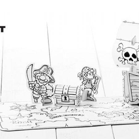 Calafant Easy Fun Party Set Pirate 4 Pcs With 12 Felt Pens 265 x 250 x 60 mm