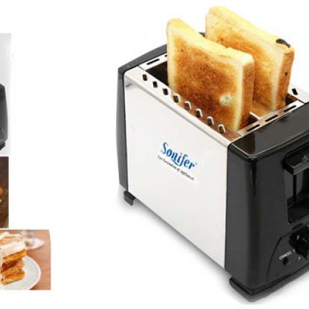 Sonifer Stainless Steel 2 Slices Slots Automatic Bread Toaster 700 W