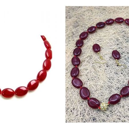 Set Of Red Flat Jade Stones Necklace With Earrings 3 Pcs For Women