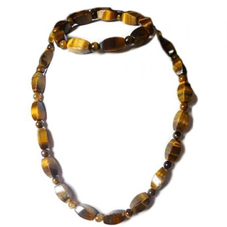 Set Of African Tiger Eye Stones Necklace With Bracelet 2 Pcs For Women