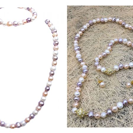 Set Of Fresh Water Pearl Natural Color Necklace Bracelet & Earrings 4 Pcs For Women