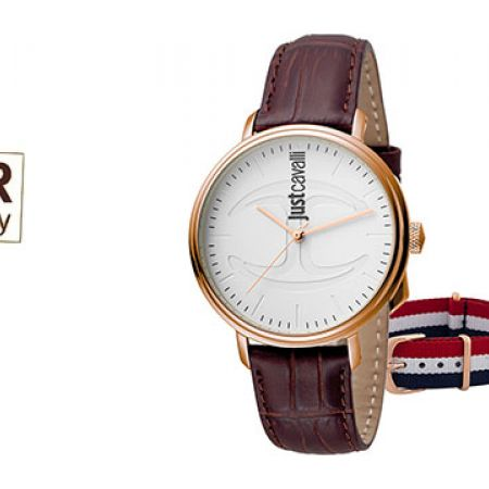 Just Cavalli White Dial Color Brown Leather Band Round Watch With Additional Band For Men