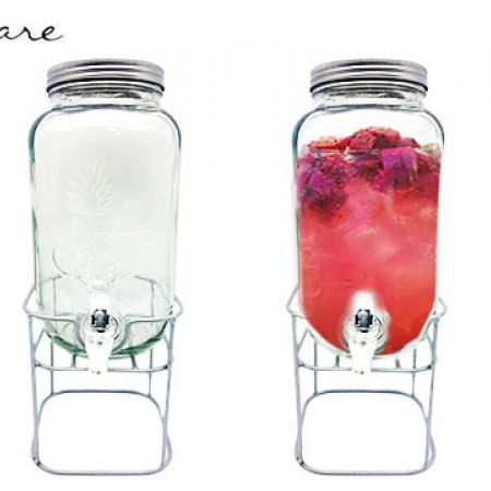 Circleware Fruits Emossed Dispenser With Metal Stand 3.7 L