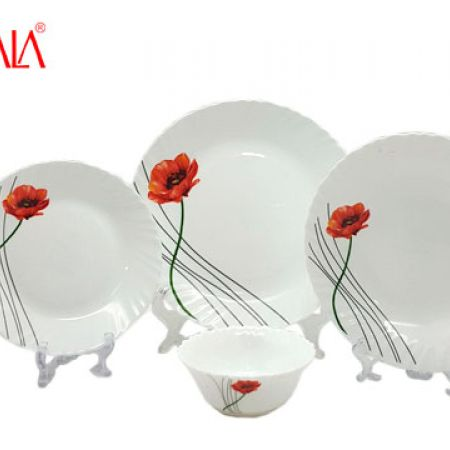 LaOpala Diva Opal Glass Citron Wave Dinnerware Set 24 Pcs