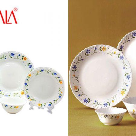 LaOpala Diva Opal Glass Twilight Bouquet Dinnerware Set 24 Pcs