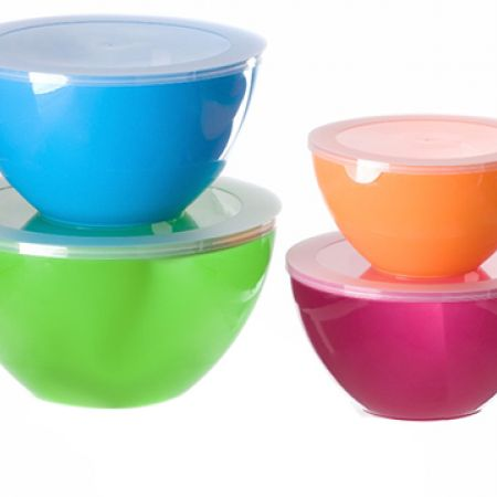 Varyag Set Of Colorful 2-Tone Bowl Set With Lids 4 Pcs