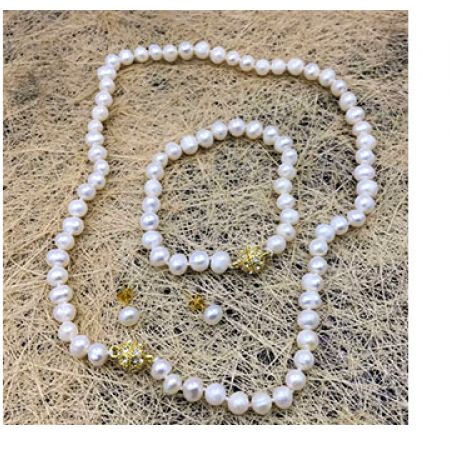 Set Of Fresh Water Pearl Natural White Necklace With Earrings & Bracelet For Women