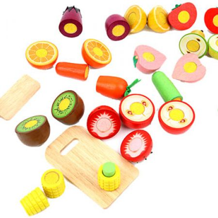 Wooden Realistic Sliceable Vegetables & Fruits Cutting Playset Toy With Chopping Board & Knife