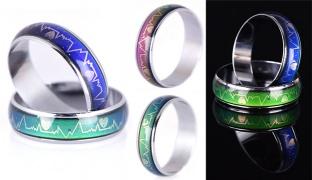 Titanium Steel Temperature Emotion Feeling Mood Ring - Size: 5