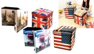 Retro Design Storage Box Case Chair 30 x 30 x 30 cm - Paris London Italy