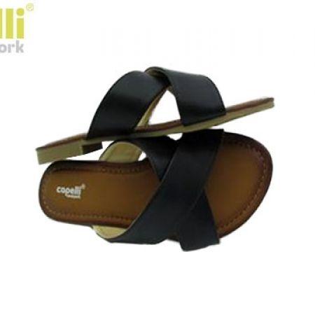 f6e2e4003 Capelli New York Black Criss Cross Faux Leather Straps Flip Flop Slide For  Women - Size  36 - Makhsoom