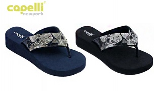 c4301963e6814c Capelli New York Faux Leather Thong With Multi Crystal Floral Flip Flops  For Women - Jet