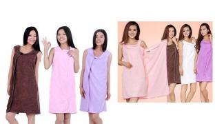Multi Functional Micro Fibre Bath-TA-robe Smart Towel Unisex - Brown
