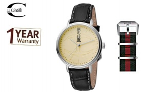 Just Cavalli Beige Dial Color Black Leather Band Round Watch With Additional Band For Men