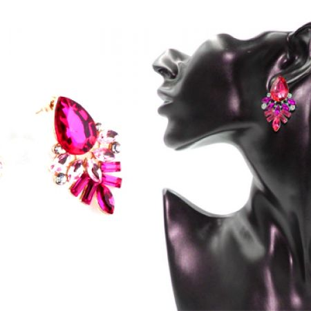 Mixed Vintage Pink Crystal Fashion Stud Earrings For Women