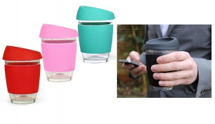 Silicone & Glass Travel Coffee Cup With Lid 340 ml - Black