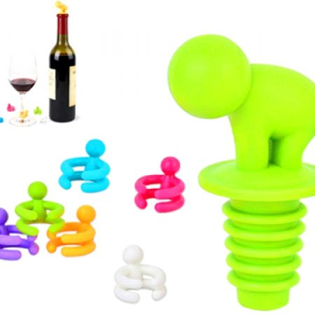 Set Of Small Drunkard Reusable Silicone Wine Bottle Topper With Drink Glass Markers 6 Pcs