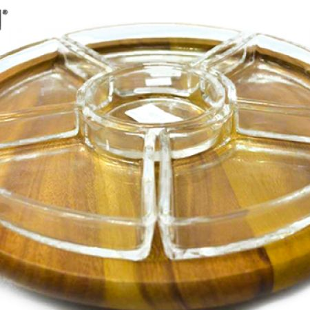 Billi Design Rotating Appetizer Wooden Tray With Glass Plates 7 Pcs