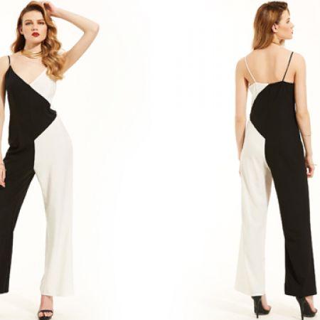 String V-Neck Open Back Black & White Jumpsuit For Women Size: Small