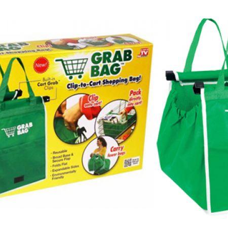 Grab Bag Set Of Reusable Clip To Cart Shopping Bag 2 Pcs