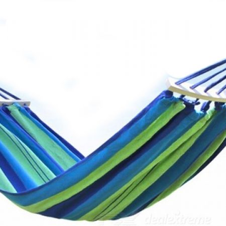 Striped Green & Blue Hammock Hanging Chair With Carry Bag 190 x 100 cm