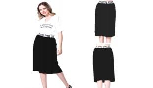 Under The Knee Style Black Skirt For Women - Small
