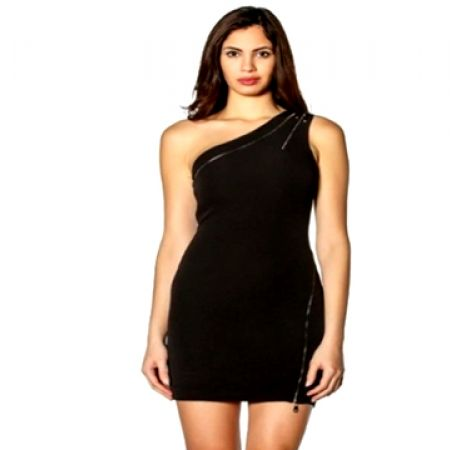One Shoulder Black Sexy Dress With Zipper For Women Size: 38