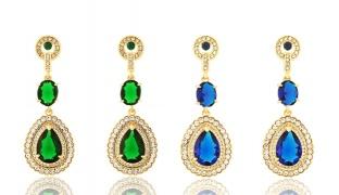 Rhinestone Water Drop Earrings For Women - Blue