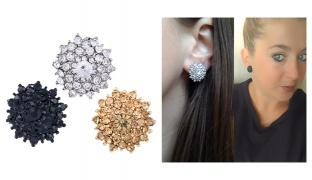 Crystal Rhinestone Clip-Earring For Women - Black