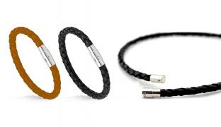 Braiding Styles Leather Magnetic Clasp Bracelet For Men - Black
