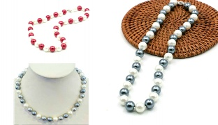 Classy Emitation Pearl Necklace For Women - Red/White