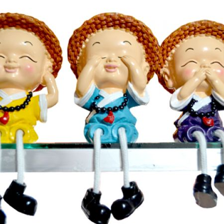 Set Of Chinese Decorative 3-Character Figurines 3 Pcs