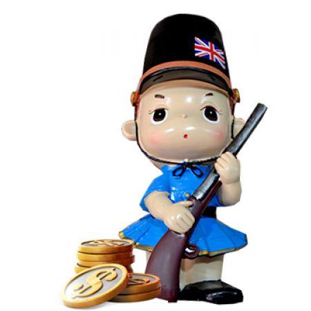 England Women Ceramic Piggy Bank Figurine