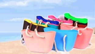 Rubber Beach Bag - Fuchsia