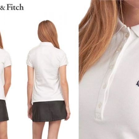 bb30f1f42 Abercrombie & Fitch White Iconic Polo Shirt For Women - Medium - Makhsoom